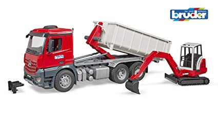 5c19ca0cebc2 Amazon.com: Bruder Toys Mb Arocs Truck with Roll-Off- Container and ...