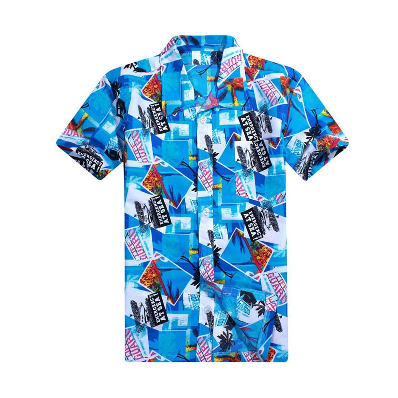 Summer Hawaiian Men Hawaii Beach Shirt,Coconut Trees Printing Men Short Sleeve Floral Loose Casual Shirts