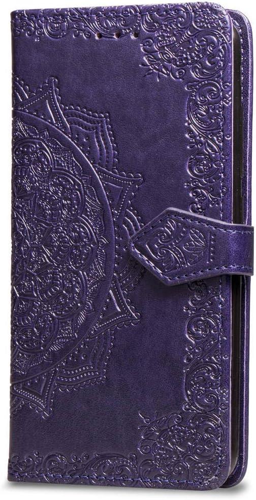 Oihxse Funda con Huawei Honor 20 Pro, Cuero PU Billetera Cierre Magnético Flip Libro Folio Tapa Carcasa Relieve Soporte Plegable Ranuras para Tarjetas Protección Caso(Purpura)