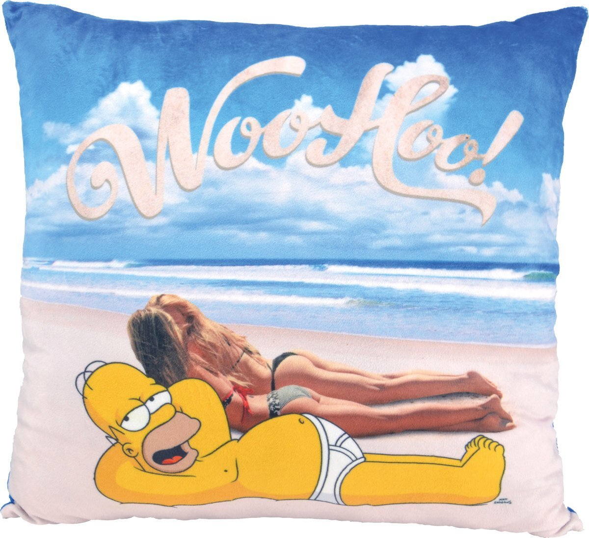 Simpsons Cojín Beach WOOHOO. Homer playa 40 x 40 cm Cushionhttps://amzn.to/2DZzB14