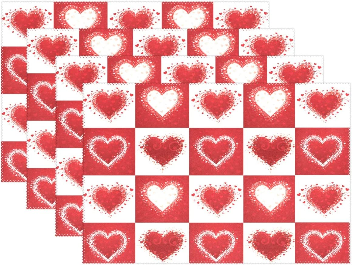 Valentine's Day Love Heart Red Buffalo Check Placemats Set of 6 Table Mat Mother's Day Rose Tulip Flowers Table mats Placemat Heat-resistant Stain Resistant for Kitchen Decoration 12