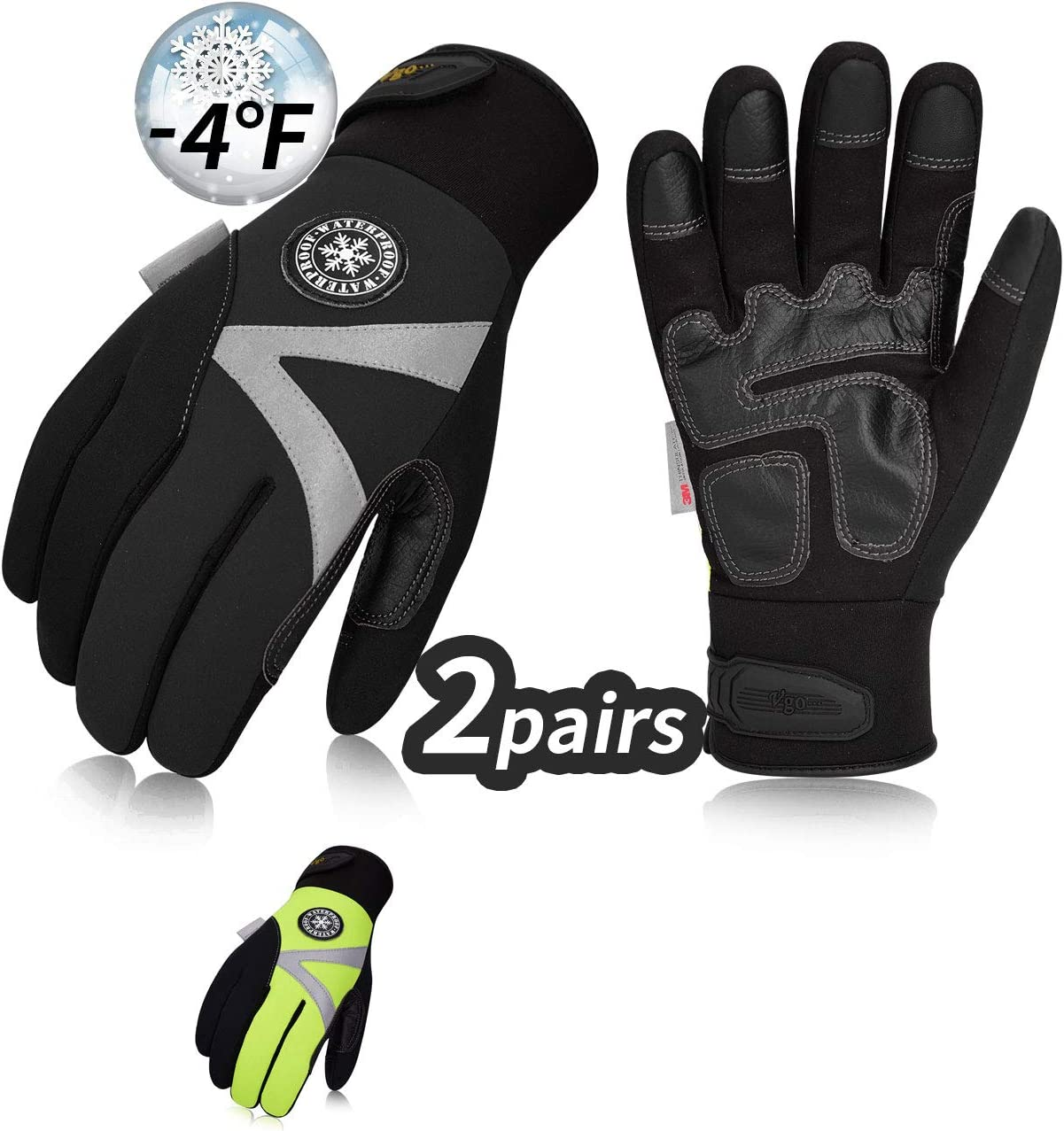 Vgo 2Pairs -4℉ or above 3M Thinsulate C100 Lined High Dexterity Touchscreen Synthetic Leather Winter Warm Work Gloves, Waterproof Insert (Size XS, Black,Fluorescent Green,SL8777FW)