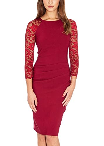 Ssyiz Women's O Neck 3/4 Lace Sleeves Pleated Cocktail Slim Pencil Midi Dress ( Can be customized)