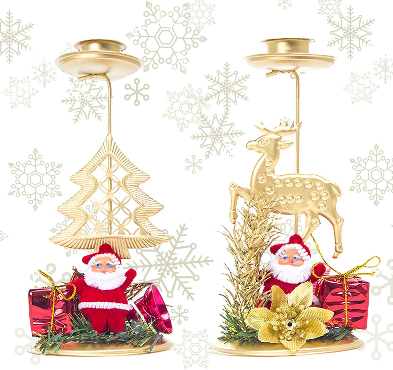 2 PCS Christmas Candle Holder, Santa Claus Ornaments Candle Sticks Golden Christmas Tree Elk Bougie Holder Decoration for Xmas Dining Room Home Display Decor