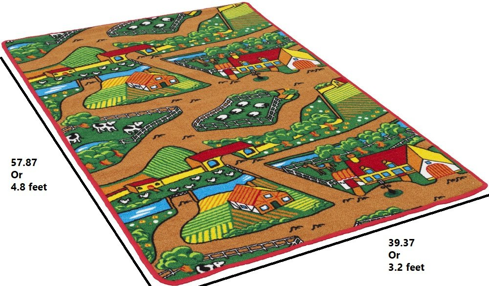 Handcraft Rugs Kids Rugs by My Farm Pattern of Road Driving Fun Brown/Green and Multi Anti Slip Rug/Game Carpets for Kids/Kids Toy/Kids learning Floor mat (Approximately 3 feet by 5 feet) by Handcraft Rugs (Image #6)