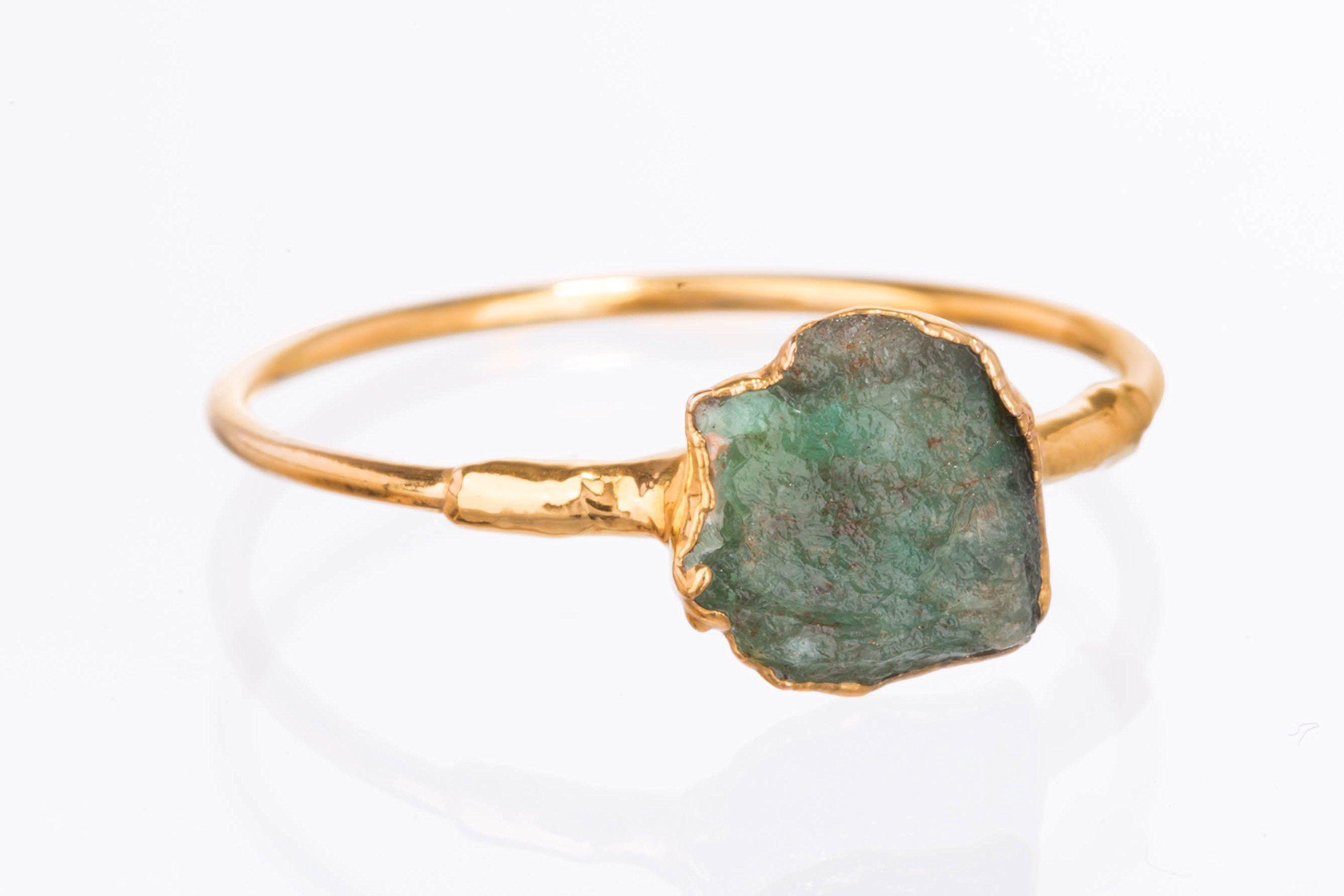 Size 6 Raw Emerald Ring, Yellow Gold, May Birthstone Jewelry