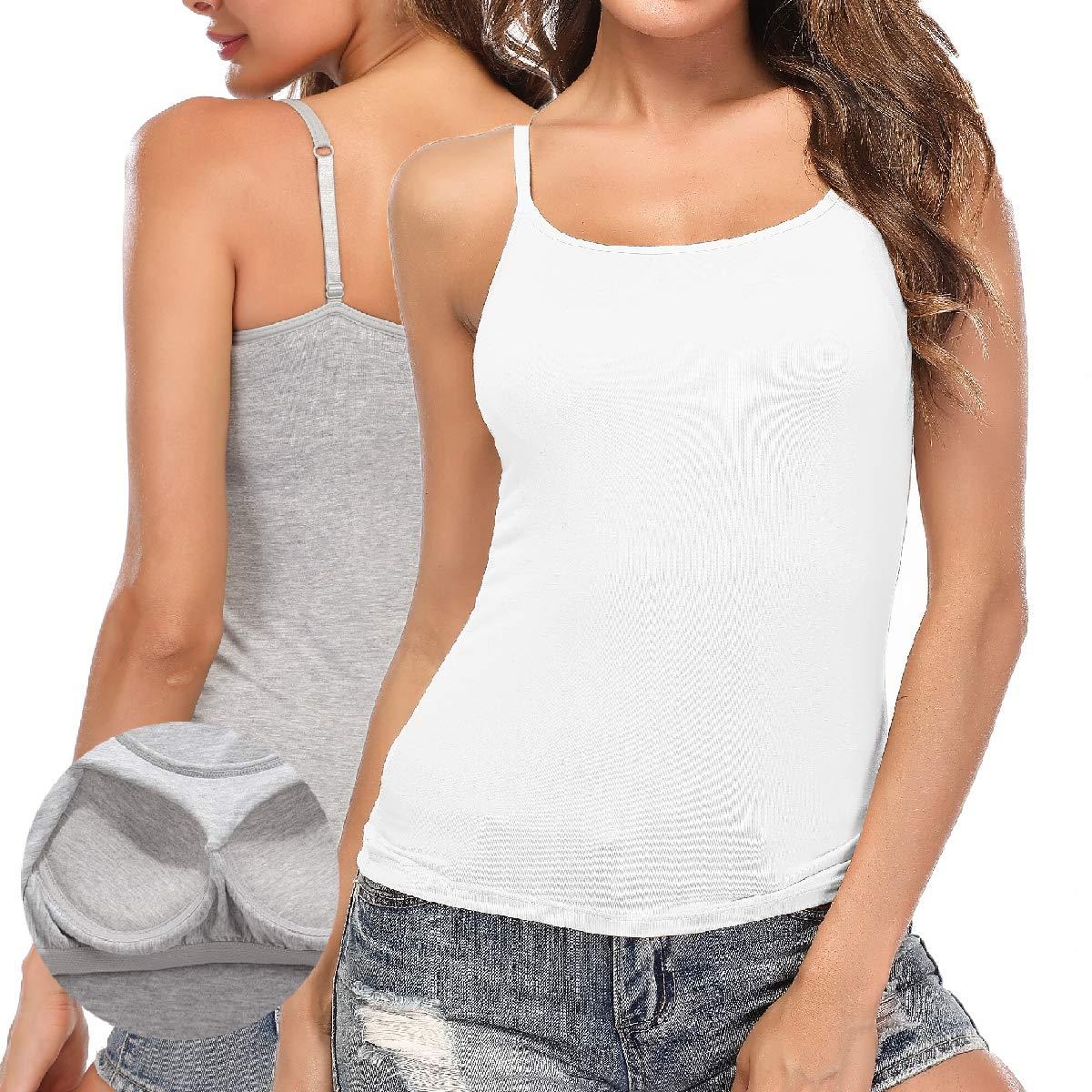 Bodis de Mujer Ajustadas sin Mangas de la Mujeres Camiseta Sujetador Incorporado