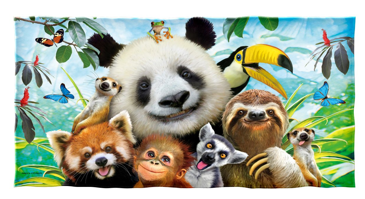 Dawhud Direct Selfie Cotton Beach Towel (Zoo Animals)