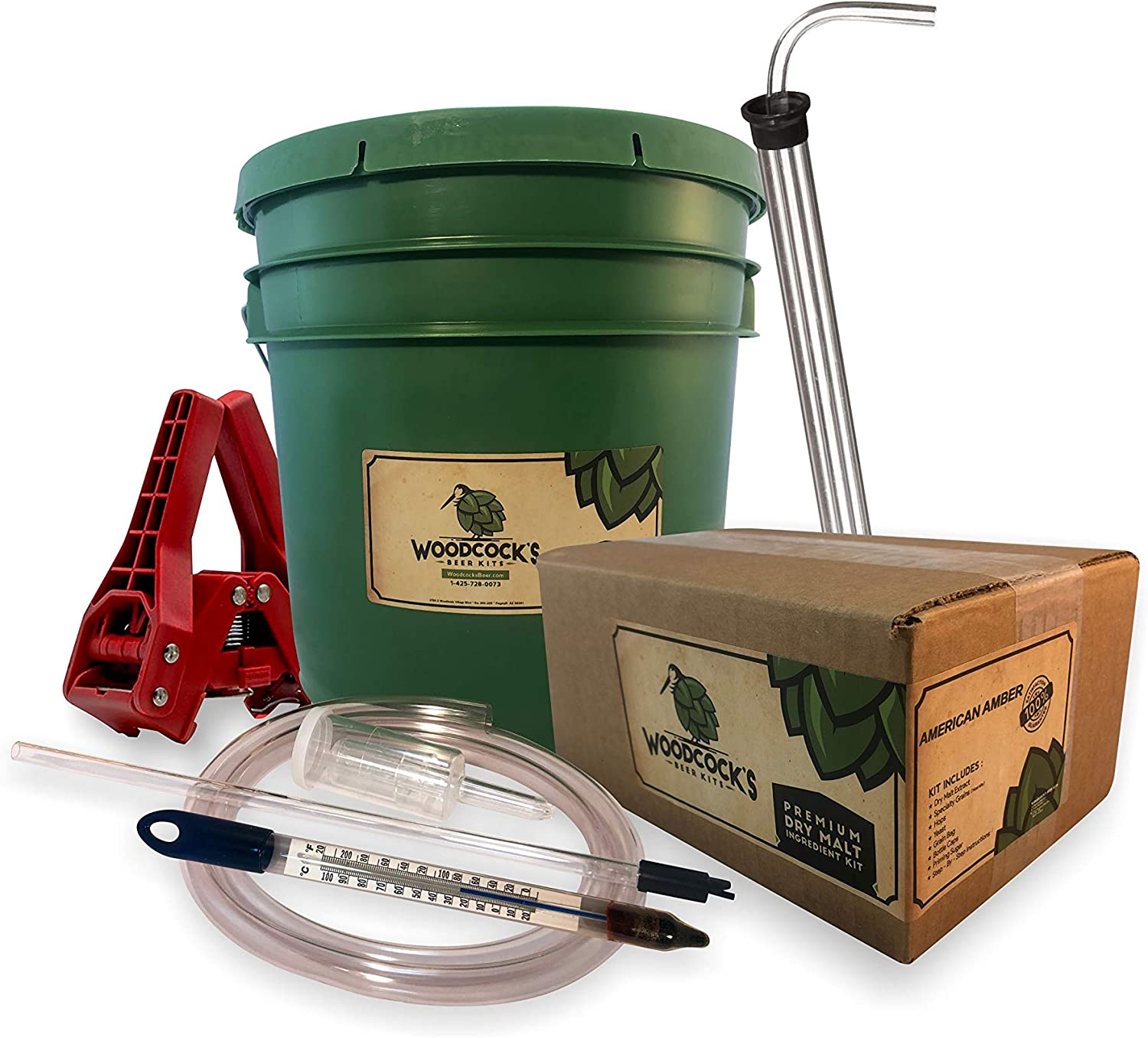 2-Gallon Home Beer Brewing Kit with American Amber Ale - Complete Homebrew Starter Set - Ideal Beginners Beer Making Kit with Everything to Make Your Own Craft Brew - Many Refill Kits Available