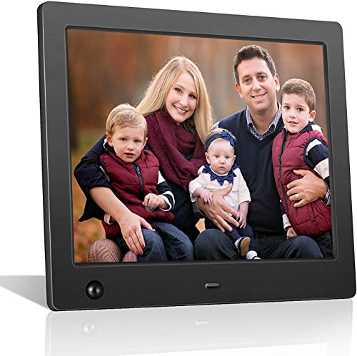 ZTSWKJ Digital Picture Frame 8 inch Full HD Display Photo 180 View Angle,Digital Photo Frame Support Background Music USB SD Slot Calendar Alarm Smart Electronic Picture Frame with Motion Sensor Black