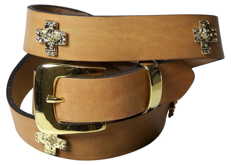 aeda105299d816 Fronhofer Gürtel Damen 3 cm goldene Kreuze Nietengürtel goldene Schnalle  Damengürtel edel, 18019: Amazon.de: Bekleidung