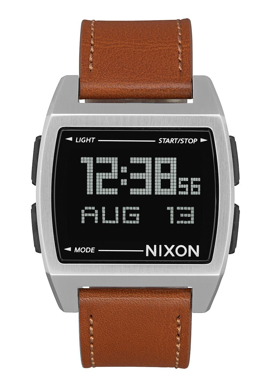 Nixon Base Leather Digital Watch Silver Black with Saddle Band