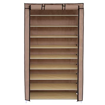 Marvelous SONGMICS 10 Tiers Shoe Rack With Dustproof Cover Closet Shoe Storage  Cabinet Organizer Mocha URXJ36K Part 30