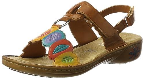 Rieker Damen 60174 Offene Sandalen mit Keilabsatz