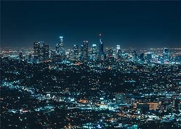 Leowefowa vinyl 7x5ft new york city night view backdrop amazon leowefowa vinyl 7x5ft new york city night view backdrop skyscraper shining lights blue sky nature romantic voltagebd Images