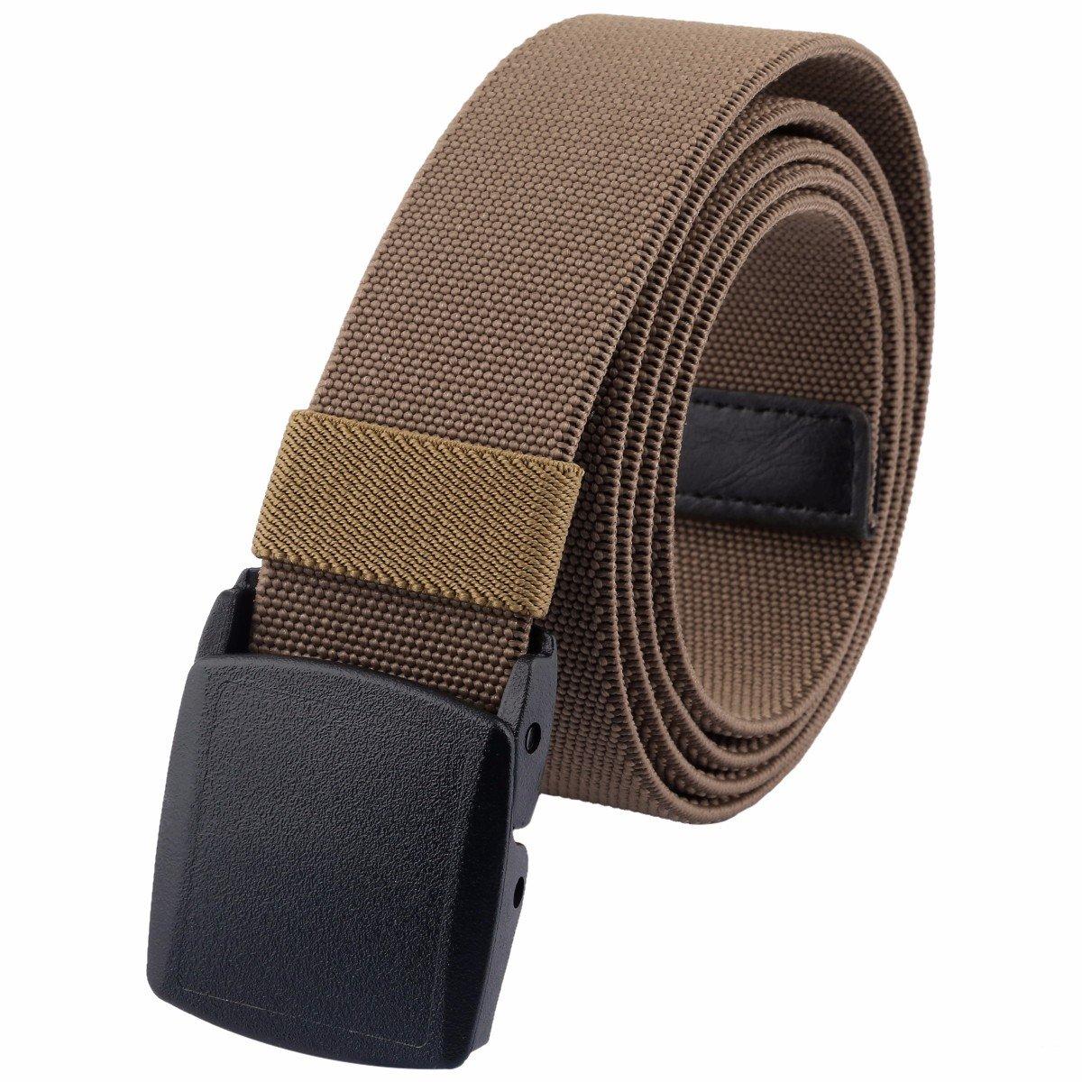 moonsix Men's Elastic Belt,Outdoor Military Tactical Duty Web Belt with Plastic Buckle,Khaki