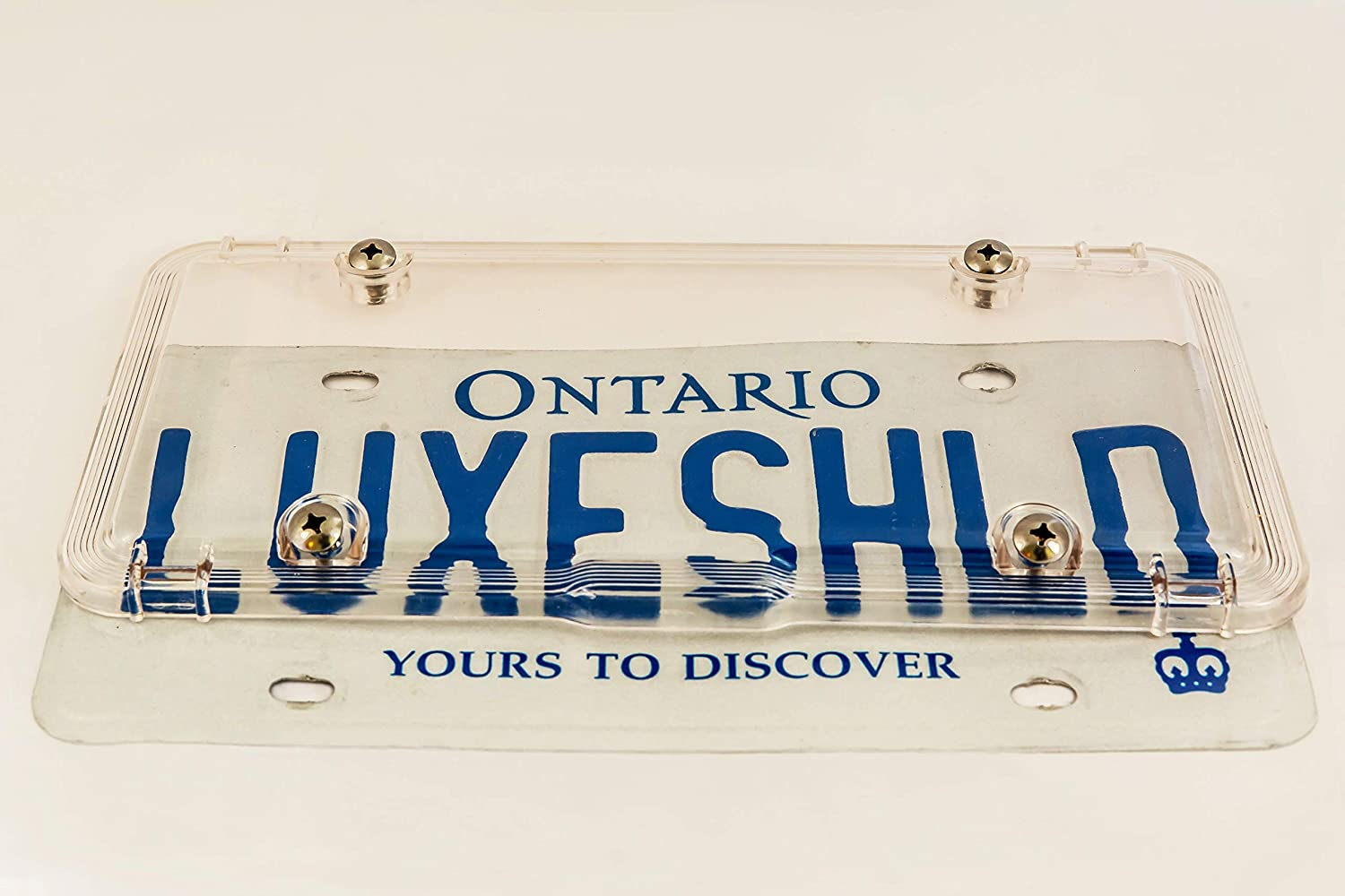 Premium Quality 100/% Recycled Industrial-Strength Polycarbonate License Plate Shields incl 8 Stainless Steel Screws Two License Covers Luxe Shield Clear License Plate Covers Built for Canada 2 Pack