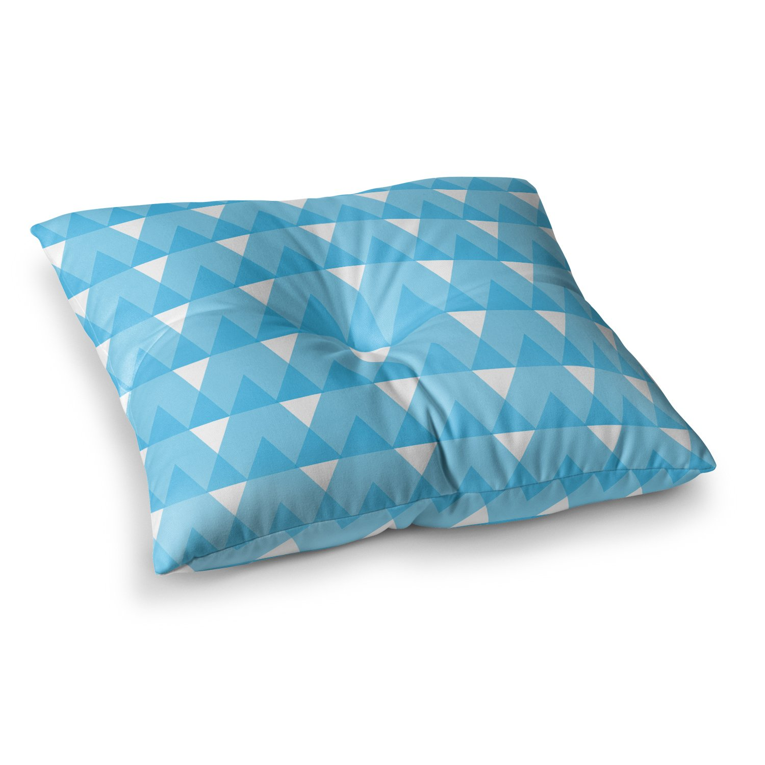 Kess InHouse Jackie Rose Cyan Triangles White Blue 26 x 26 Square Floor Pillow