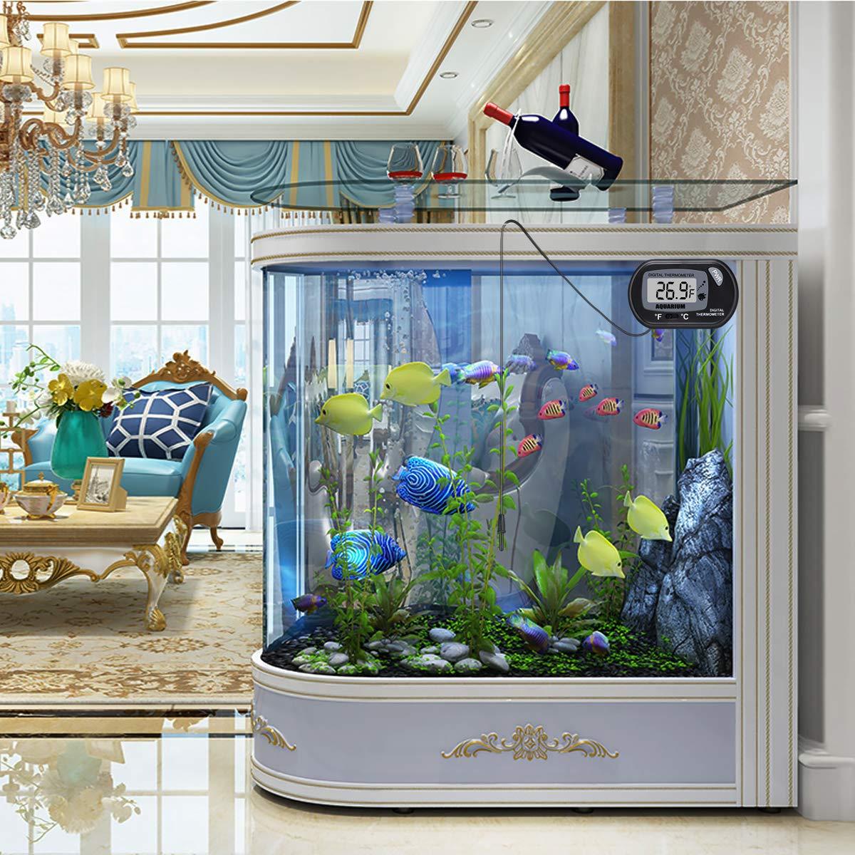 UEETEK 2 piezas termómetro LCD digital para peces de acuario terrario reptil bivalvo (negro): Amazon.es: Productos para mascotas