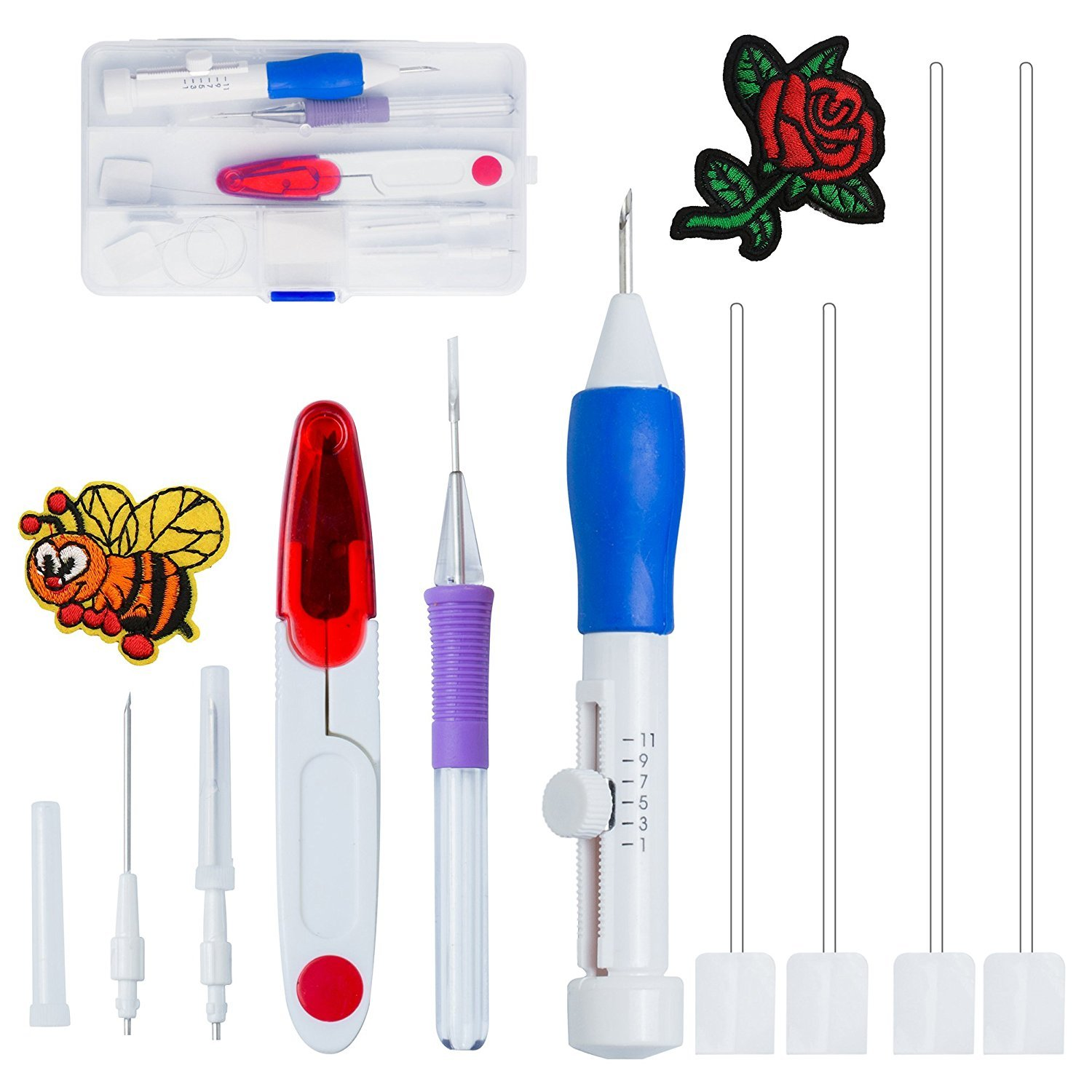 Aguja para bordado - libre rosa bordado Punch Pen Set, patrones de ...