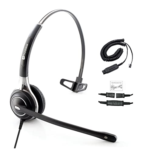 Premium Single Ear Headset with Ultra Noise Canceling MIC & Adapter Cable For Avaya IP 1608