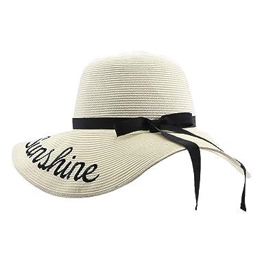 3ba50803 Womens Floppy Big Brim Sun Straw Hats Beach Summer Curve Embroidered  Adjustable Foldable Roll Up Cap