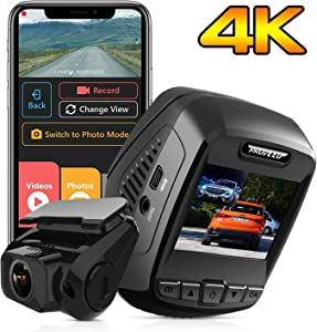Pruveeo T7 4K Dual Dash Cam Front and Rear, 4K Built in WiFi GPS, Dash Camera for Cars, 2.4 inch LCD, 170 Degree Wide Angle, Supercapacitor, WDR