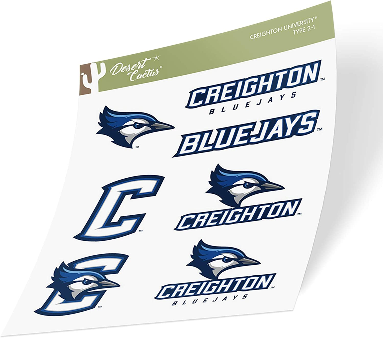 Creighton University CU Bluejays NCAA Sticker Vinyl Decal Laptop Water Bottle Car Scrapbook (Type 2 Sheet)