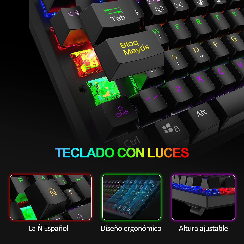 TECKNET Teclado Mecánico Gaming Español con Ñ, Teclado Mecanico Switch Blue TKL con 88 Teclas, 9 Modos Retroiluminados con Luces, USB Cable 1.8M, ...
