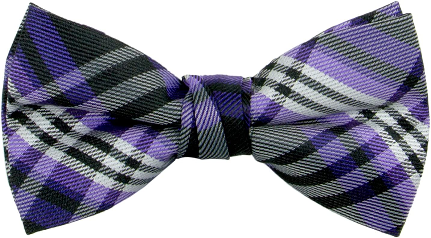Spring Notion Boys Pre-tied Woven Bow Tie Medium Plaid Purple