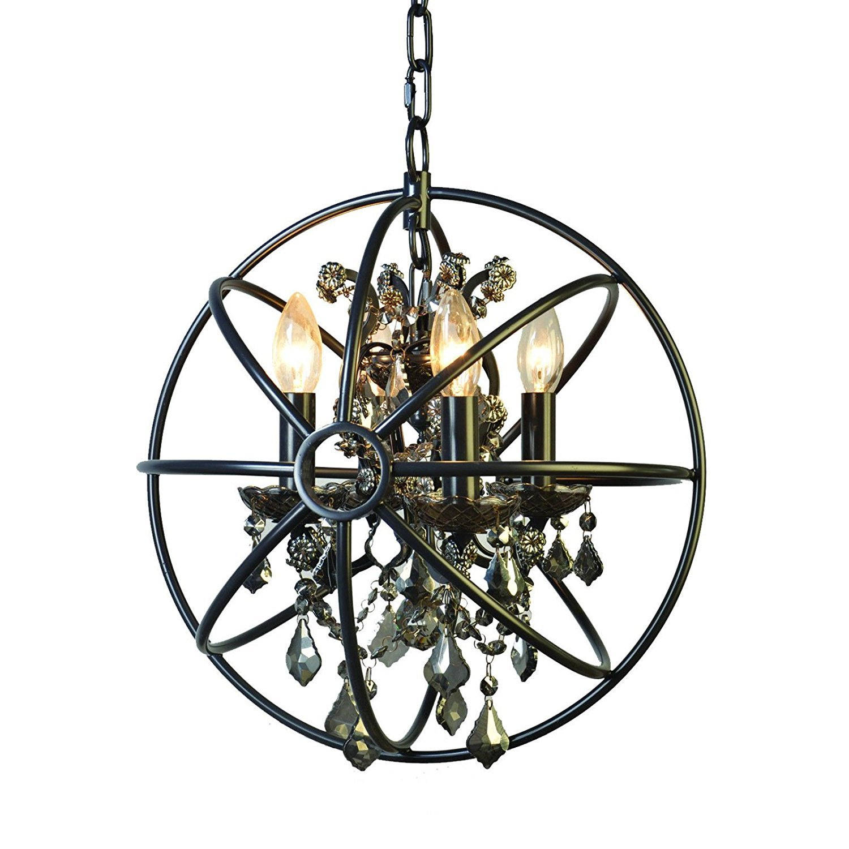 Foucault's Orb Smoke Crystal Chandelier 14'', Industrial Vintage Retro LOFT style wrought iron Metal Globe Cage Round Pendant Lamp Fixture Pendant Light