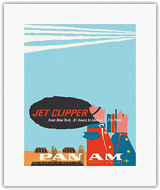 6 sizes, matte+glossy available Pan Am New York Clipper Airline Travel Poster