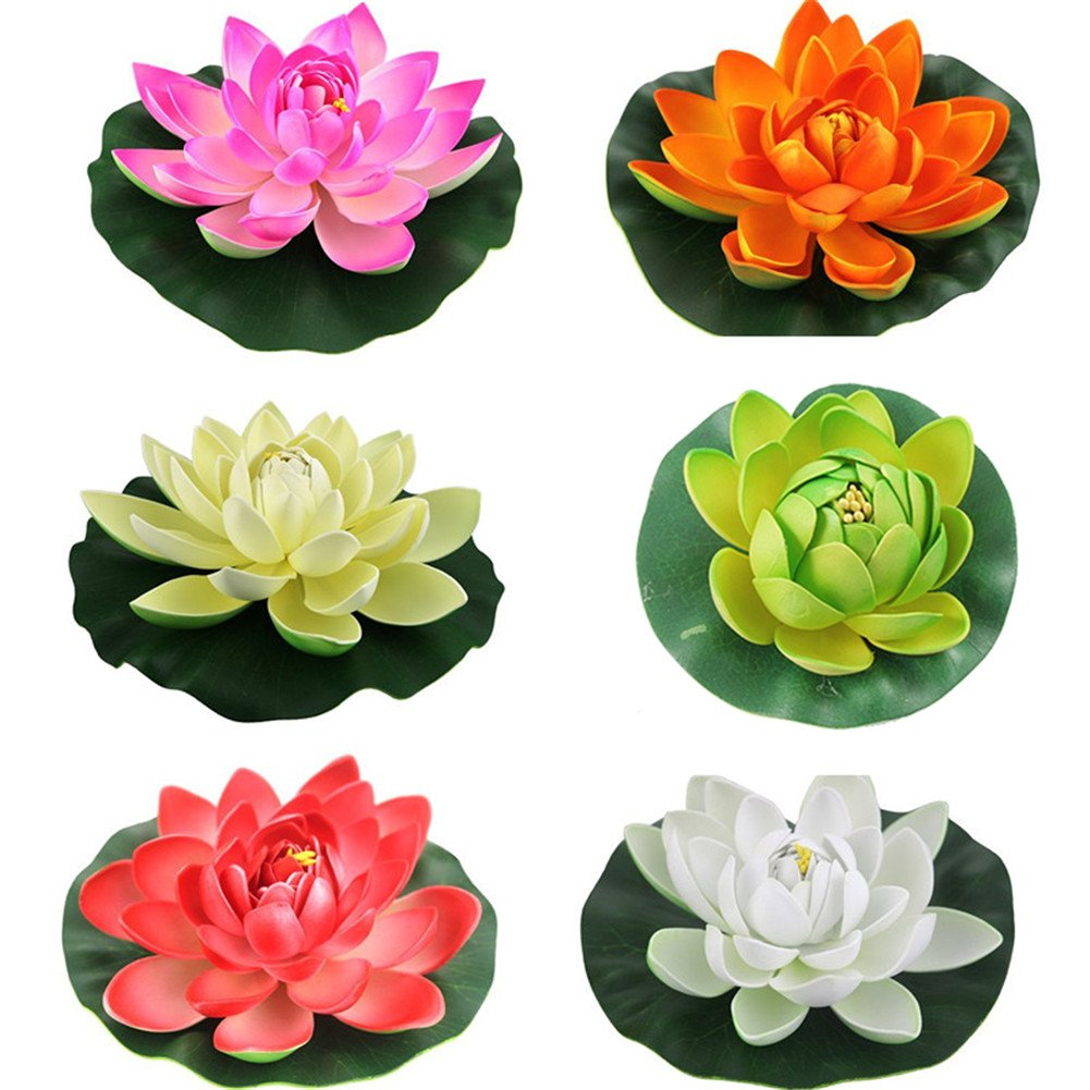 6PCS Set Artificial EVA Lotus Floating Water Lily Blooming Foam Flower Head Pool Fish Tank Pond Home Garden Decoration (30CM)