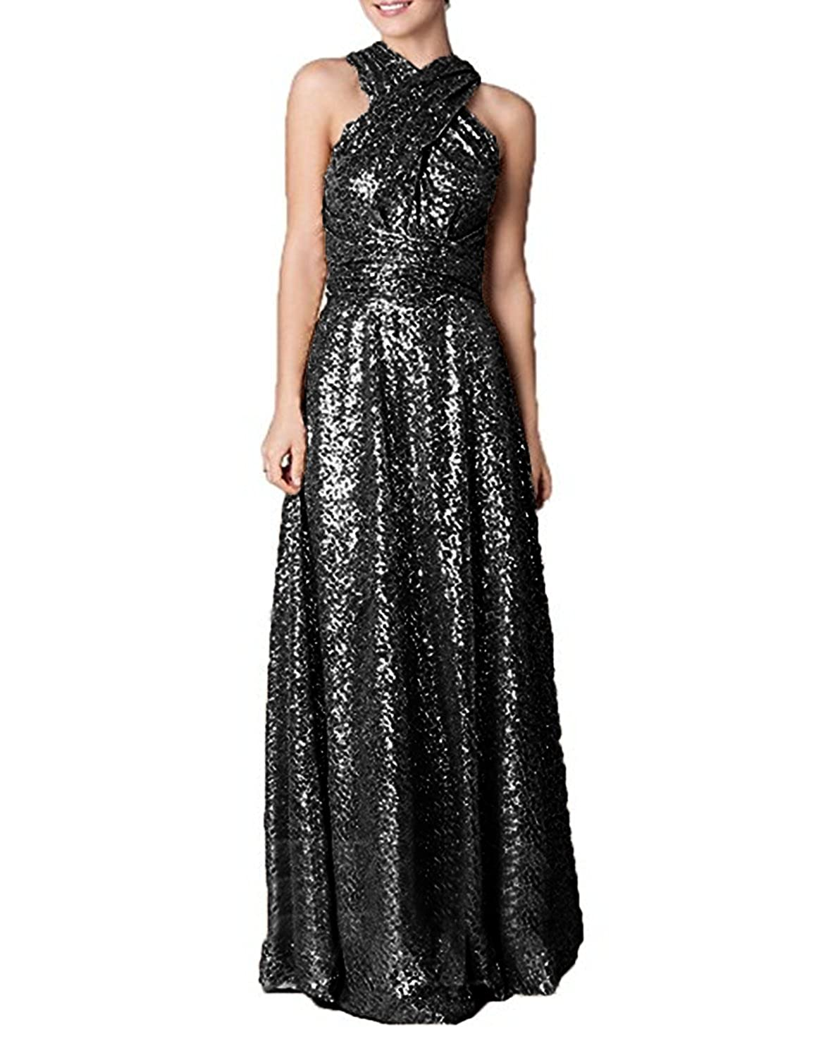 bfce3ae29be7 Amazon.com: Ruiyuhong Women's Rose Gold Sequin Bridesmaid Dress Wedding  Party Gown LH311: Clothing