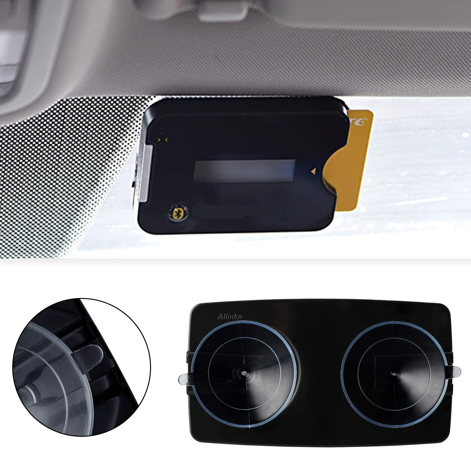 Quick Zoom Mounting Strips Included Allino Toll Pass Holder FasTrak Allinko Holder for EZ PrePass Fast Lane Elite Pass Windshield Fits All New Toll Transponders PalPass