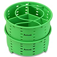 6Qt Instant Pot Stackable Silicone Steamer Basket Accessories with one Insert Divider - by Avokado (6Qt(2 baskets + 1 insert divider (3 total pieces)))