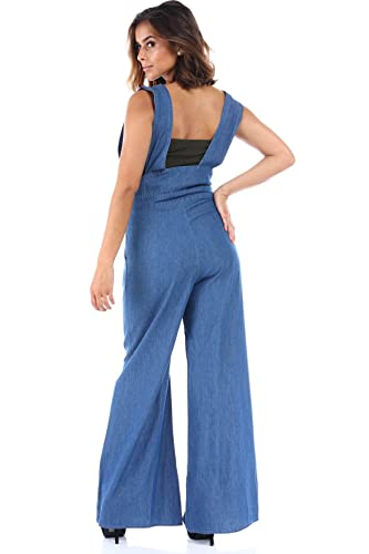 d11af812dfa Amazon.com  SALT TREE Women s Chambray Oversize Crossover Strap Overalls   Clothing