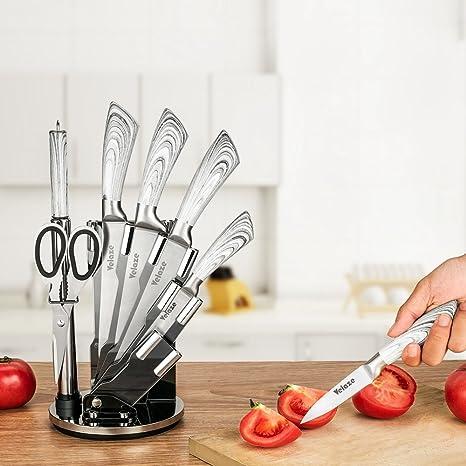 Velaze Juego de Cuchillos, Cuchillos de Cocina Profesional de Acero Inoxidable con Bloque Acrílico Giratorio, Gris Claro(8 Piezas)