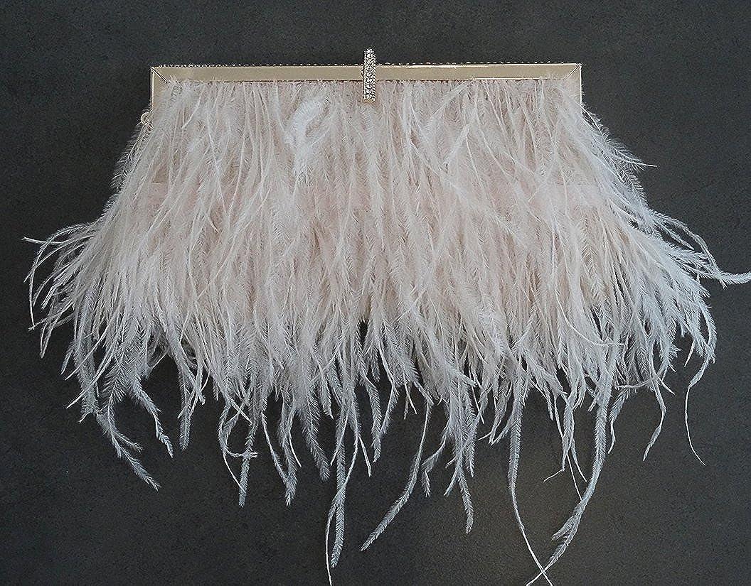 Keland Sac d/épaule dembrayage de femme en plumes dautruche naturel