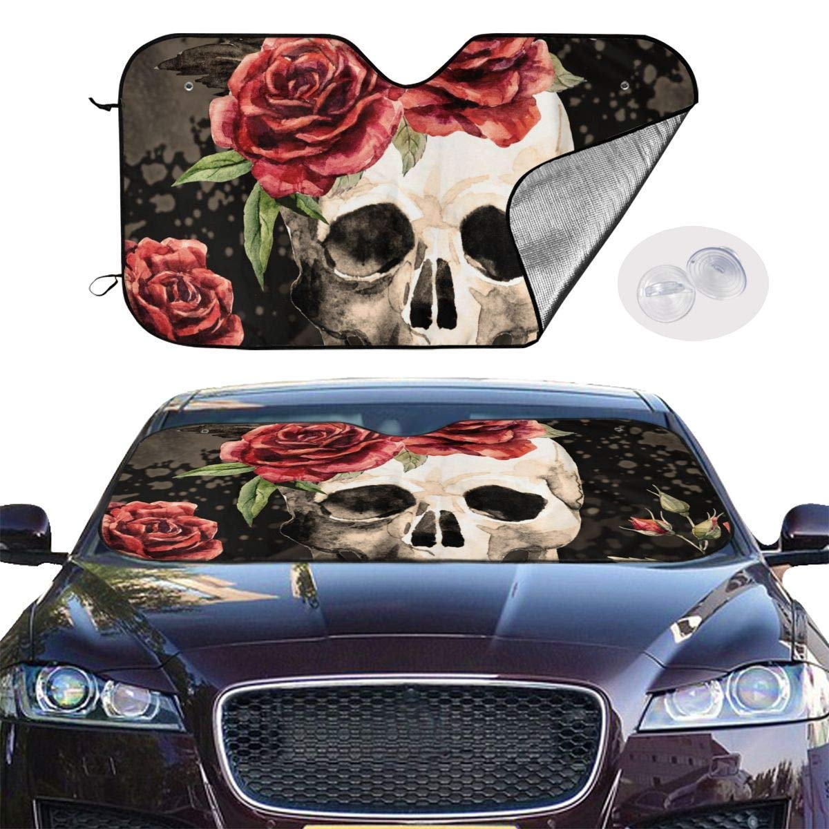 VTIUA Car Windshield Sunshade Rose Skull Portable Universal Sunshade Keeps Vehicle Cooler for Car,SUV,Trucks,Minivan Automotive and Most Vehicle Sunshade 51 X 27 in