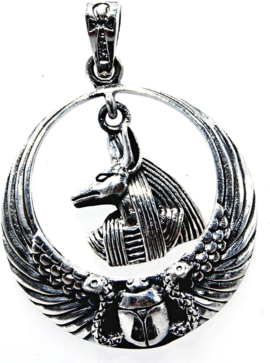 Kiss of Leather Anh/änger Anubis aus 925 Sterling Silber mit Baumwollband
