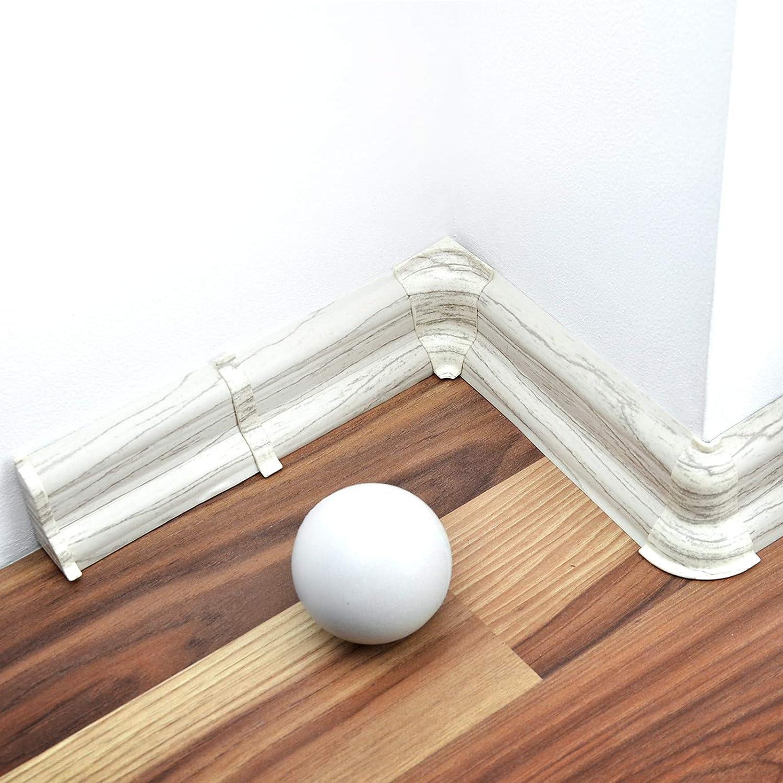 DQ-PP 20 Meter Sockelleisten 52mm PVC Kiefer gebleicht Laminatleisten Fussleisten aus Kunststoff PVC Laminat Dekore Fu/ßleisten