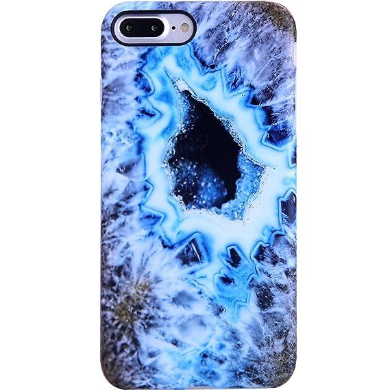 61d5dcebce iPhone 7 Plus Case,iPhone 8 Plus Case,VIVIBIN Cute Blue Opal Marble for