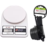 Bulfyss Digital Electronic Kitchen Scale Upto 10Kg With 8Pc Measuring Cups And Spoons - White