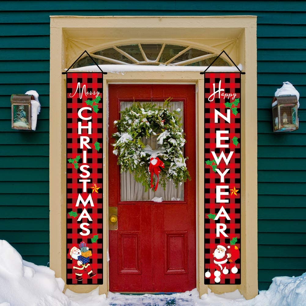 AIFENTE Merry Christmas Happy New Year Plaid Porch Signs Christmas Banners Hanging Outdoor Indoor Decor Happy Holidays Banner Welcome Banner Front Door Hanging Sign for Christmas Decorations