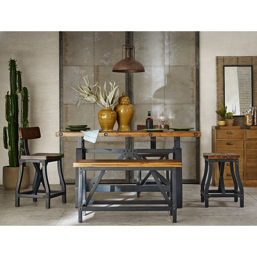 Amazon.com   Industrial Rustic Wood And Metal Counter Height Gathering  Dining Bench   Includes Modhaus Living Pen   Table Benches