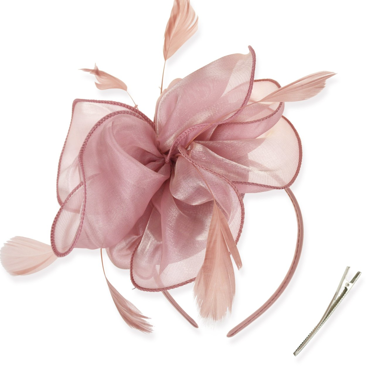 DRESHOW Fascinators Hat Cocktail Tea Party Headwear Flower Mesh on a Headband and a Clip for Girls and Women