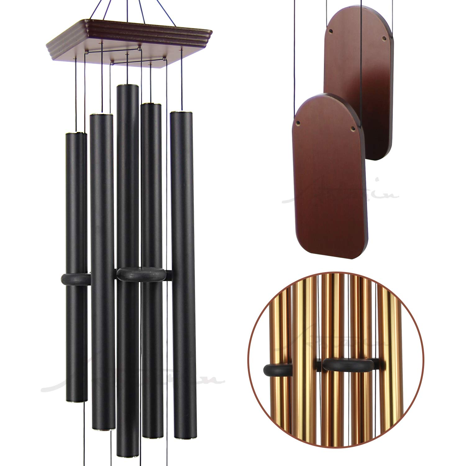 Large Wind Chimes Outdoor Deep Tone, 48 Inch Amazing Grace Wind Chime Sympathy with 5 Big Aluminum Tubes Tuned Soothing Melody,Memorial Wind Chimes Unique for Patio, Garden, Yard, Porch Decor