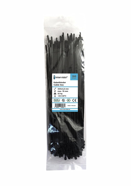 intervisio Kabelbinder 300mm x 3,6mm schwarz 100 Stück: Amazon.de ...