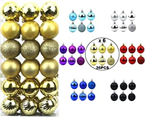 """Christmas Ball Ornaments 36Pcs 1.6"""" Shatterproof Seasonal Decorations Festive Tree Balls with Hooks for Holiday Wedding Party Decoration (Gold)"""